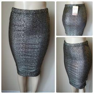 NWT Lily White Gold Splatter Metallic Party Skirt